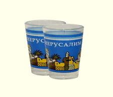 Judaica Pair Of Shot Glasses Jerusalem Landscape Russian Vodka Liqueur Glass