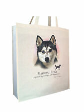 Siberian Husky (b) Cotton Shopping Bag Tote Gusset and Long Handles Perfect Gift