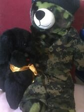Vintage Poodle Soft Toy and a Army Camouflague Teddy Bear With Uniform