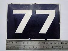 Vintage  Enameled Porcelain Tin Sign House Door Number 77 - 5.7 in x 3.8 in (I)