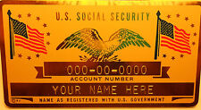 Metal Social Security ID Card Flags - Gold Color - Custom Engraved