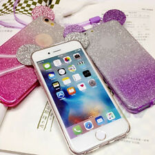 Purple Glitter 3D Mouse Ears Soft Silicone Skin Cover Case For Iphone 6s plus
