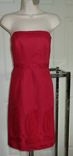 NWT $148 ANN TAYLOR ReD Strapless Empire Sheath Cocktail DRESS Boned Bodice 8P