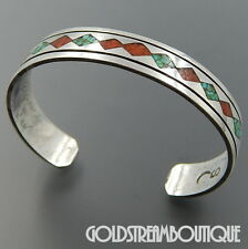 THOMAS TOMMY SINGER NAVAJO 925 SILVER TURQUOISE & CORAL CHIP INLAY CUFF BRACELET