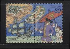 JAPAN 2000 400TH ANNIV. OF JAPANESE-DUTCH RELATIONS SE-TENANT SET 2 STAMPS USED