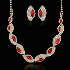 10k Gold GP Sparkling Clear & Red AB Rhinestone Crystal Necklace Earrings Set