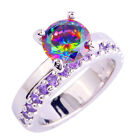 Rainbow Topaz Amethyst Gemstone Jewelry Silver Noble Ring Size 6 7 8 9 10 11 12
