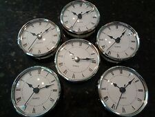 "6 PAK - 3-1/8""(80MM) QUARTZ CLOCK FIT-UP/Insert,Silver Trim,Roman,White Face,HMS"