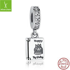 Authentic 925 Sterling Happy Birthday Cake Wishes Dangles Clear Charms Bracelets