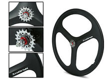 700c Tri Spoke Fixie Fixed Gear Single Speed Bike Rear Mag Wheel Rim ( Black )