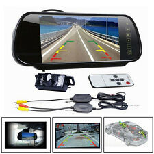 "7"" LCD Mirror Monitor +Wireless Night Vision Car Reverse Rear View Backup Camera"