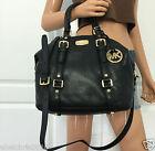 Nwt Michael Kors Black Medium MK Bedford Leather Satchel Bowling Shoulder Bag
