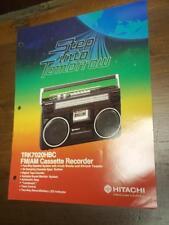 Hitachi Brochure~TRK-7020HBC Cassette Tape Recorder~Catalog Insert~Specification