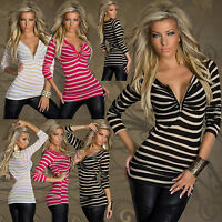 Sexy women clubbing stripe jumper shirt Ladies top Size 6 8 10 12 pullover S M L
