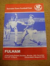 28/12/1981 Swindon Town v Fulham  . Item appears to be in good condition unless