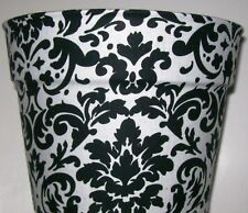 BLACK WHITE FLEUR  FLOWERPOT GIFT WRAP BASKET SUPPLIES CONTAINER CENTERPIECE