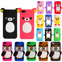 Cute 3D Cartoon Animal Soft Silicone Rubber Back Case Cover Skin For Phones