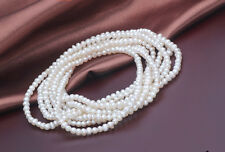 Wedding Natural pearl 100% Real pearl White 2-3mm highlight Necklace 80cm/32inch