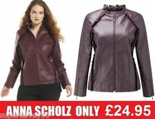 ANNA SCHOLZ LADIES WOMENS LEATHER EFFECT BIKER STYLE SHORT ZIP JACKET PURPLE 22