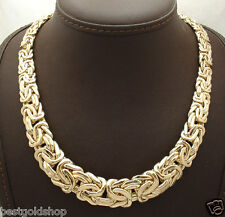 "18"" All Shiny Graduated Bold Byzantine Necklace Real 14K Yellow Gold 45.8gr"