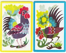 Playing Swap Cards  GENUINE 2 only single COLOURFUL ROOSTERS BIRDS