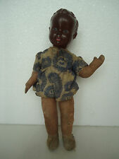 Antique Vintage Girl Doll Toy 32cm-Cloth Body,Black Head-Celluloid?Bakelite?