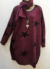 New  Italian Lagenlook Burgundy Red STAR Jumper Dress Top Scarf uk 14 16 18 20