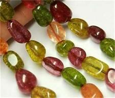 Irregular 10x16mm Multicolor Tourmaline Gem Loose Bead 15''