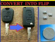 PEUGEOT 106 206 307 FLIP CONVERSION REMOTE KEY FOB CASE FULL REPAIR KIT