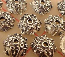 12 metal bead caps antiqued silver color 10mm x 4mm