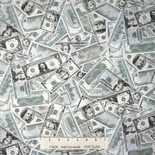 Money Fabric - Packed American Dollar Bills Green - Timeless Treasures YARD