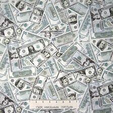 Money Fabric - Packed American Dollar Bills Green - Timeless Treasures YARD