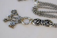 New Brighton Mutli Charm Silver Pendent Long Chain Altered Necklace