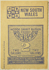 c. 1940's Motor Spirit Ration Ticket - 2 Gallons - Series B - NSW - Australia