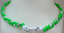 """NEW! 20"""" Custom Clasp Braided Sports Neon Green White Tornado Necklace Twisted"""