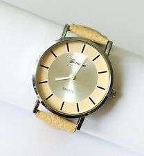 NEW STYLISH BEIGE LEATHER Wrist Watch With BEIGE Face UK SELLER