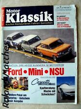 MOTOR KLASSIK 7-92+STING RAY+NSU TTS+MINI COOPER S+FORD ESCORT TC+MERCEDES 300