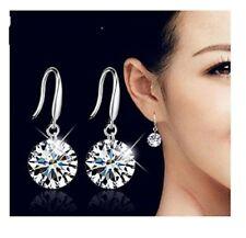 Ladies 925 Sterling Silver Beautiful Round Crystal 8,mm Drop Dangle Earrings
