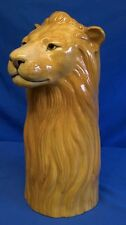QUAIL CERAMIC LION FLOWER VASE -  AFRICAN SAFARI BIG CAT WILDLIFE ANIMAL MODEL