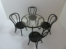 Dolls House Miniature 1:12 Scale Garden Cafe Black Metal Table & Four Chairs