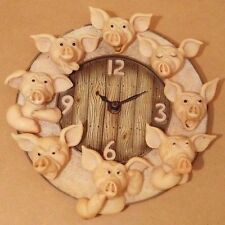 Vintage Retro Funny 8 Pigs Heads Clock Extremely Rare - Fully Tested & Working