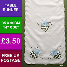 Light Blue 3D Raised Rose Appliqued Table Runner Dining Kitchen MA10