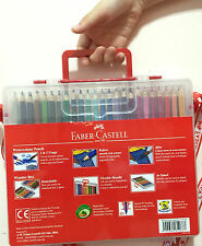 NEW Faber-Castell 48 Watercolour Pencils +Brush,2B Pencil,Sharpener in WonderBox