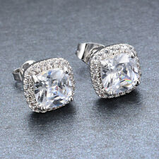 Elegant Princess Cut White Sapphire Lady's Earring Wedding Jewelry Party Gift