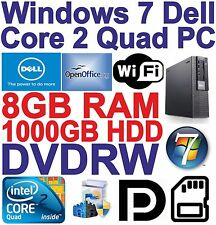 Windows 7 Dell 960 Core 2 Quad Gaming PC Computer - 8GB RAM - 1TB HDD - Wi-Fi