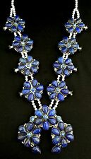 Navajo Silver and Lapis Lazuli Squash Blossom Necklace Native American ZEK TB352