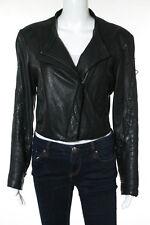 Helmut Lang Black Leather Embellished Moto Jacket Size L