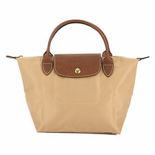 Longchamp Beige Nylon Canvas Small Le Pliage Bag (New with Tags)