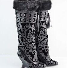 Yves Saint Laurent YSL Tom Ford Leather Laser Velvet Mink Boots US SZ 6 IT 36