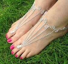 CRYSTAL BAREFOOT SANDALS ANKLET FOOT BRACELET BRIDAL BEACH WEDDING HOLIDAY